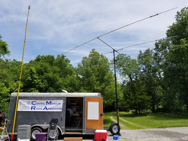 Photo of communications trailer and antennas.